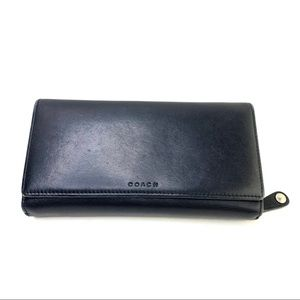 Coach black leather trifold wallet zip around